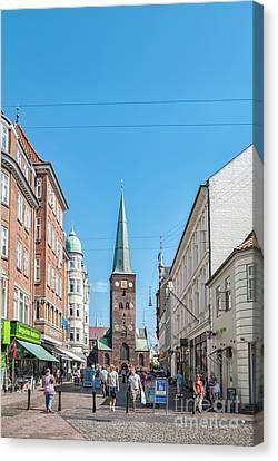 Canvas Print featuring the photograph Aarhus Street Scene by Antony McAulay