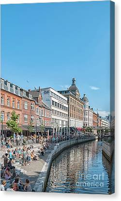 Canvas Print featuring the photograph Aarhus Summertime Canal Scene by Antony McAulay