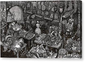 Canvas Print featuring the drawing Aaron Finds Duryano by Al Goldfarb