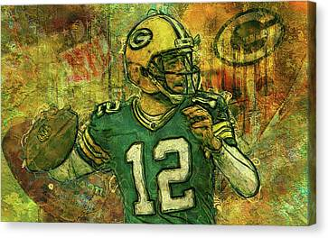 Aaron Rodgers 2 Green Bay Packers Canvas Print by Jack Zulli