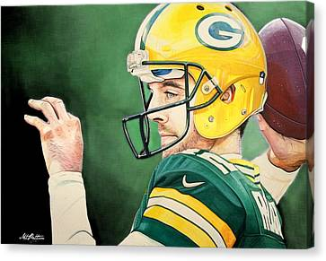 Aaron Rodgers - Green Bay Packers Canvas Print by Michael  Pattison