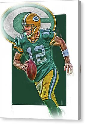 Aaron Rodgers Green Bay Packers Oil Art Canvas Print