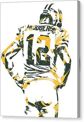 Aaron Rodgers Green Bay Packers Pixel Art 17 Canvas Print