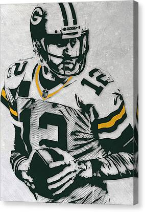 Aaron Rodgers Green Bay Packers Pixel Art 4 Canvas Print