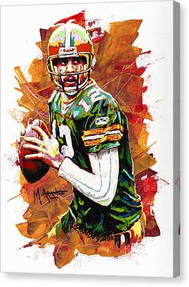 Aaron Rodgers Canvas Print by Maria Arango