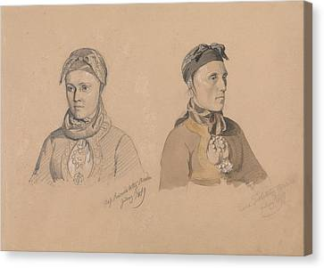 Aase Rasmusdatter Stranden And Anna Troelsdatter Kittelsviken Canvas Print by Adolph Tidemand