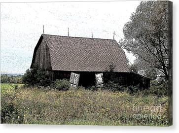 Abandoned Barn In Wny Ink Sketch Effect Canvas Print by Rose Santuci-Sofranko