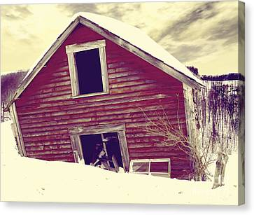 Red Barn In Snow Canvas Print - Abandoned Barn by Mindy Sommers