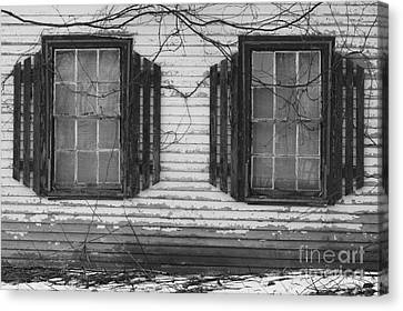 Maine Farmhouse Canvas Print - Abandoned Black And White by Katie W