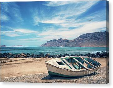 Abandoned Boat Canvas Print by Delphimages Photo Creations