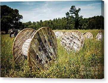 Abandoned Cable Reels Canvas Print