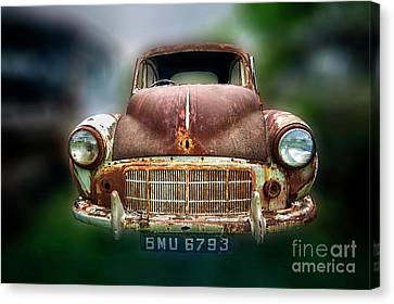 Canvas Print featuring the photograph Abandoned Car by Charuhas Images