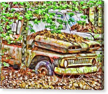 Abandoned Cars Overrun By Nature Canvas Print