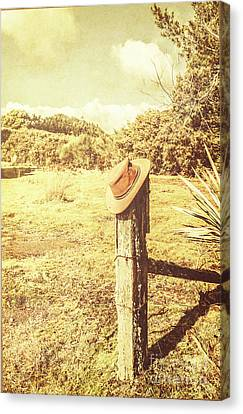 Abandoned Cowboy Hat On Tree Trunk Canvas Print by Jorgo Photography - Wall Art Gallery