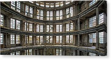 Canvas Print featuring the photograph Abandoned Factory Tower - Panorama Industrial Decay by Dirk Ercken