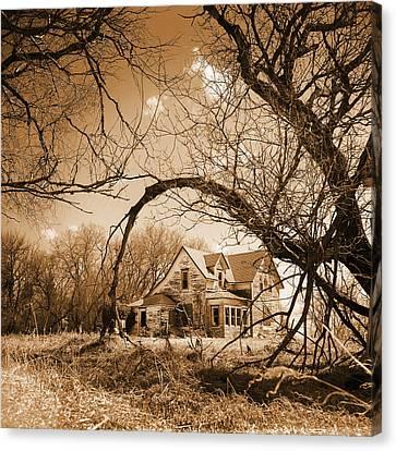 Sepia Vintage Farmhouse Canvas Print - Abandoned Farm House  Sepia Toned by Donald  Erickson