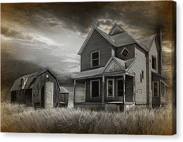Sepia Vintage Farmhouse Canvas Print - Abandoned Farm In Black And White by Randall Nyhof