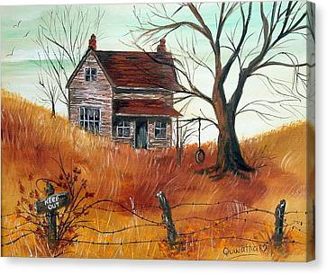 Canvas Print featuring the painting Abandoned Farmhouse by Quwatha Valentine