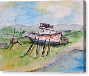 Abandoned Fishing Boat Canvas Print by Clyde J Kell