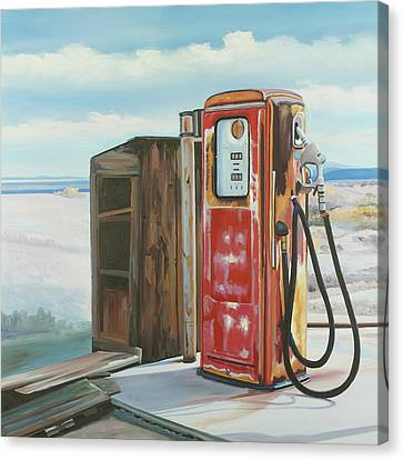 Rusted Cars Canvas Print - Abandoned Gas Pump by Atelier B Art Studio