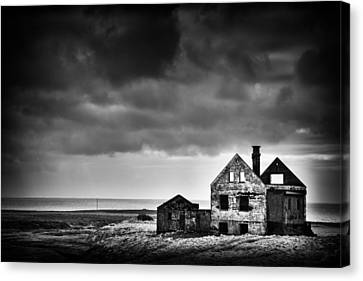 Abandoned House In Iceland Black And White Canvas Print