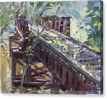 Abandoned Railroad Bridge In Tonawanda Canvas Print by Ylli Haruni