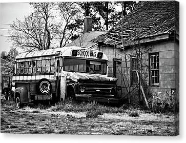 Abandoned Houses Canvas Print - Abandoned School Bus by Trish Tritz