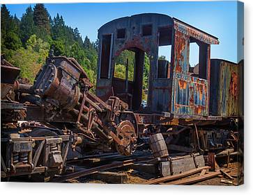 Abandoned Train Engine Canvas Print by Garry Gay