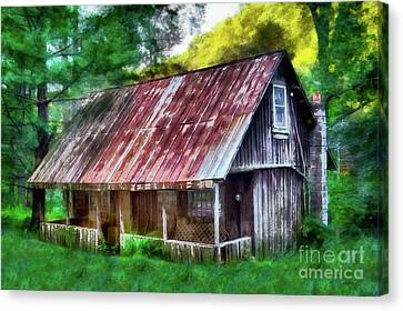 Canvas Print featuring the photograph Abandoned Vintage House In The Woods Ap by Dan Carmichael