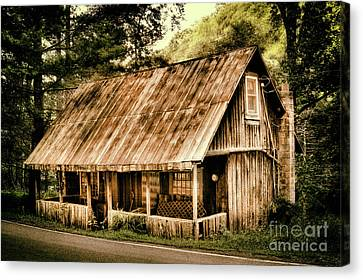 Canvas Print featuring the photograph Abandoned Vintage House In The Woods by Dan Carmichael