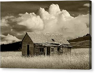 Sepia Vintage Farmhouse Canvas Print - Abandoned Western Farmhouse In Sepia Tone by Randall Nyhof