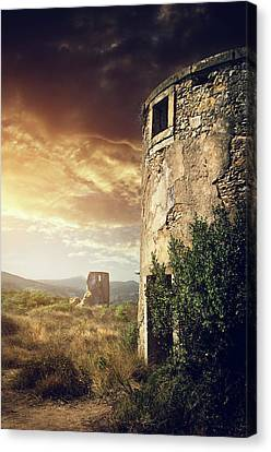 Abandoned Windmills Canvas Print by Carlos Caetano