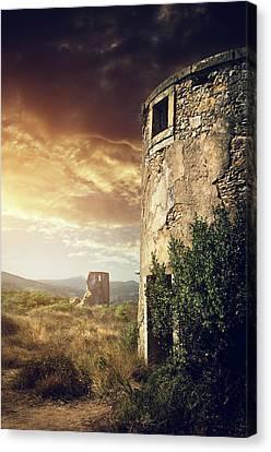 Abandoned Windmills Canvas Print by Carlos Caetano