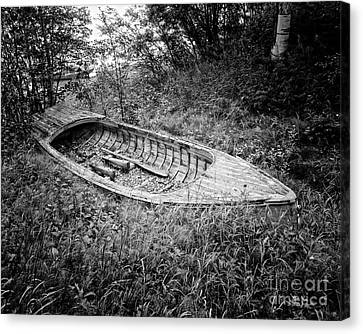 Canvas Print featuring the photograph Abandoned Wooden Boat Alaska by Edward Fielding