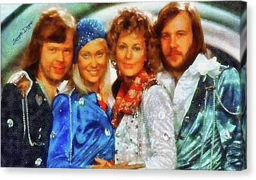 Roll Canvas Print - Abba At Eurovision 1974 by Leonardo Digenio