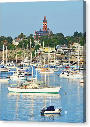 Abbot Hall Over Marblehead Harbor From Chandler Hovey Park Canvas Print
