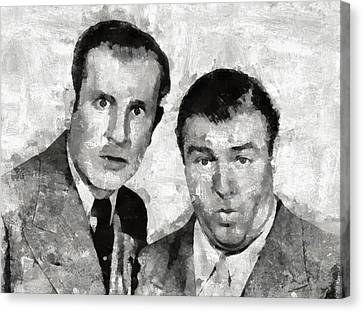 Abbott And Costello Hollywood Legends Canvas Print by Mary Bassett