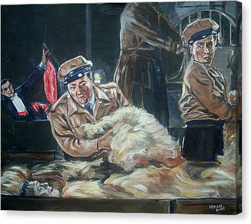 Canvas Print featuring the painting Abbott And Costello Meet Frankenstein by Bryan Bustard