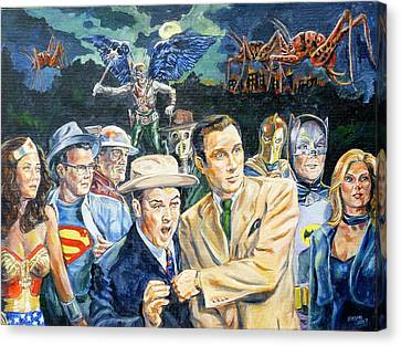 Abbott And Costello Meet The Justice Society Of America Canvas Print by Bryan Bustard