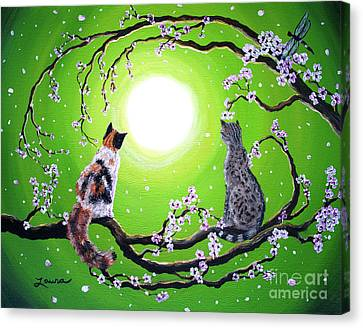 Abby And Caesar In The Spring Canvas Print by Laura Iverson