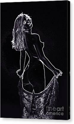 Model 3001 Fine Art Nude Drawings In Black And White 1065.01 Canvas Print by Kendree Miller