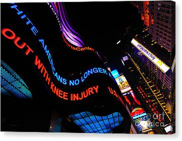 Abc News Scrolling Marquee In Times Square New York City Canvas Print by Amy Cicconi
