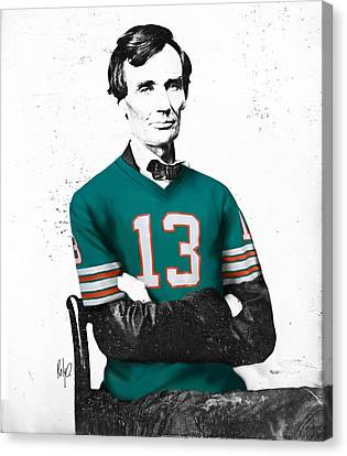 Abe Lincoln In A Dan Marino Miami Dolphins Jersey Canvas Print by Roly Orihuela