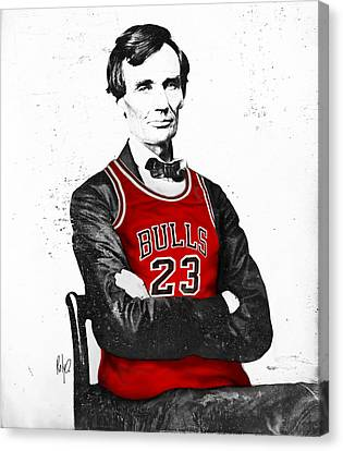 Bull Canvas Print - Abe Lincoln In A Michael Jordan Chicago Bulls Jersey by Rolyo