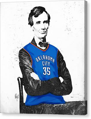 Abe Lincoln In An Kevin Durant Okc Thunder Jersey Canvas Print by Roly Orihuela