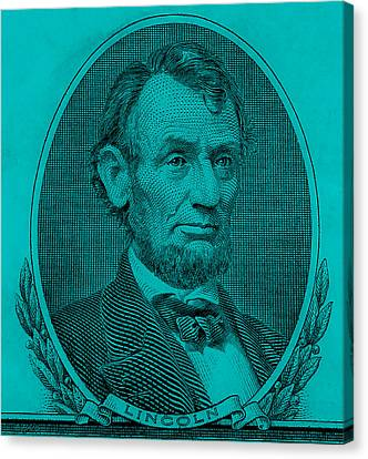 Canvas Print featuring the photograph Abe On The 5 Aqua Blue by Rob Hans