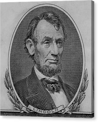 Canvas Print featuring the photograph Abe On The 5 B W by Rob Hans