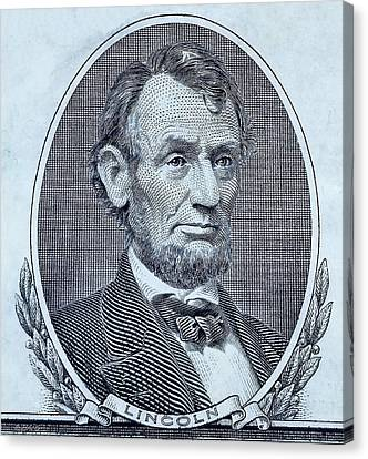 Canvas Print featuring the photograph Abe On The 5 Cyan by Rob Hans