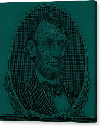 Canvas Print featuring the photograph Abe On The 5 Greenishblue by Rob Hans