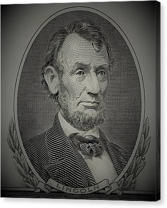 Canvas Print featuring the photograph Abe On The 5 Grey by Rob Hans